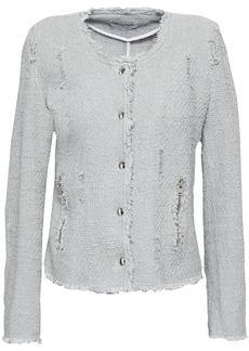 Iro Woman Agnette Distressed Cotton Bouclé-tweed Jacket Stone