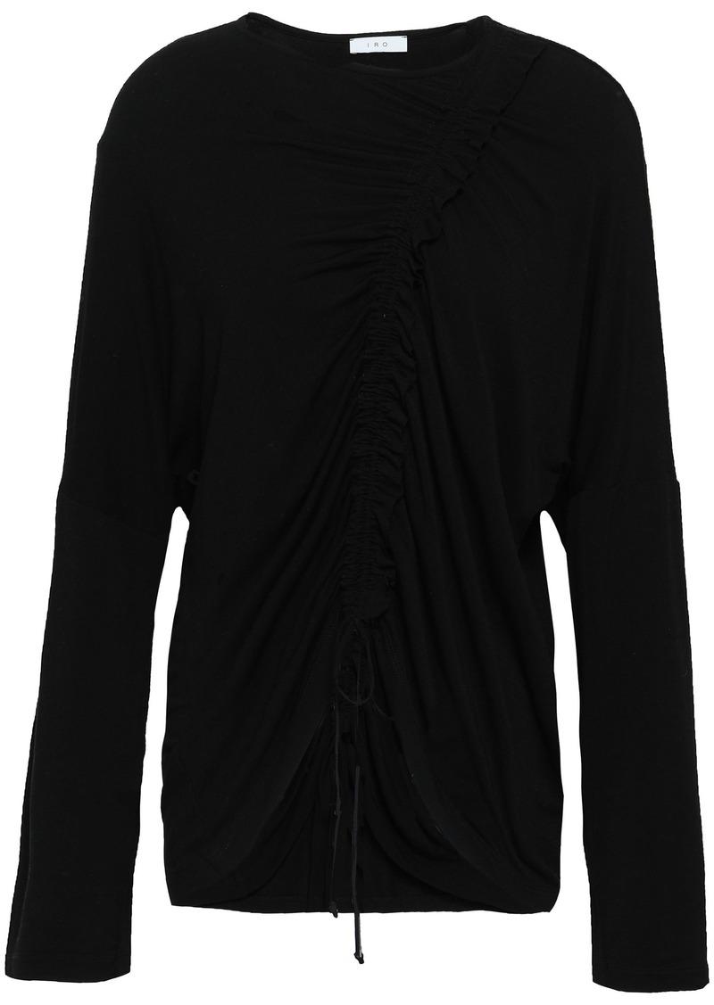 Iro Woman Alajar Ruched Jersey Top Black