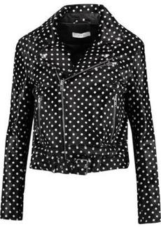 Iro Woman Alpha Polka-dot Calf Hair-effect Leather Biker Jacket Black