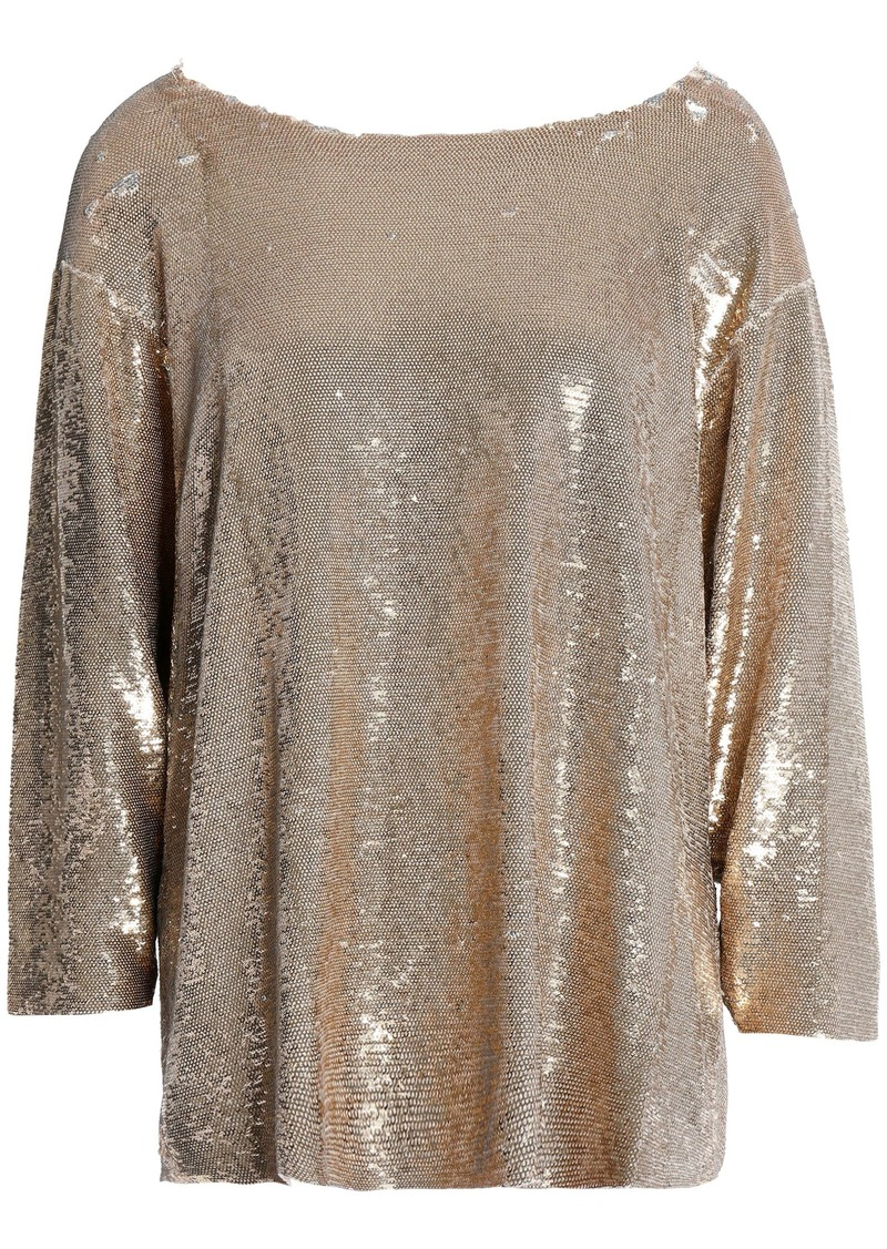 Iro Woman Alya Sequined Tulle Top Gold