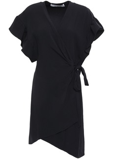 Iro Woman Anette Asymmetric Crepe Mini Wrap Dress Black