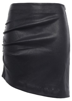 Iro Woman Apava Asymmetric Ruched Stretch-leather Mini Skirt Black