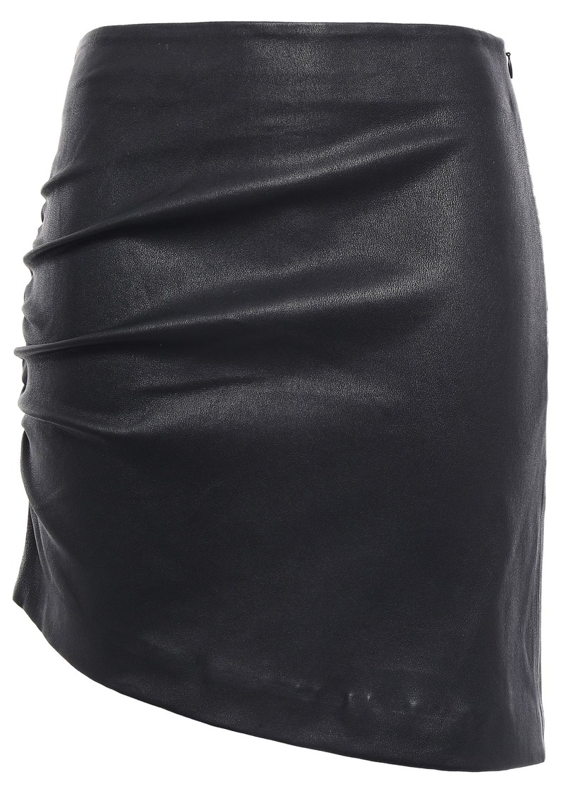 Iro Woman Apava Asymmetric Ruched Stretch-leather Mini Skirt Black