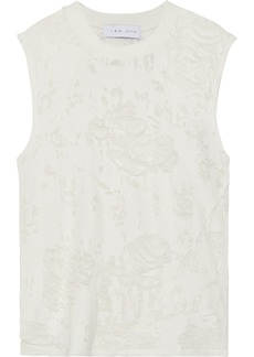 Iro Woman Apie Distressed French Cotton-blend Terry Tank Light Gray