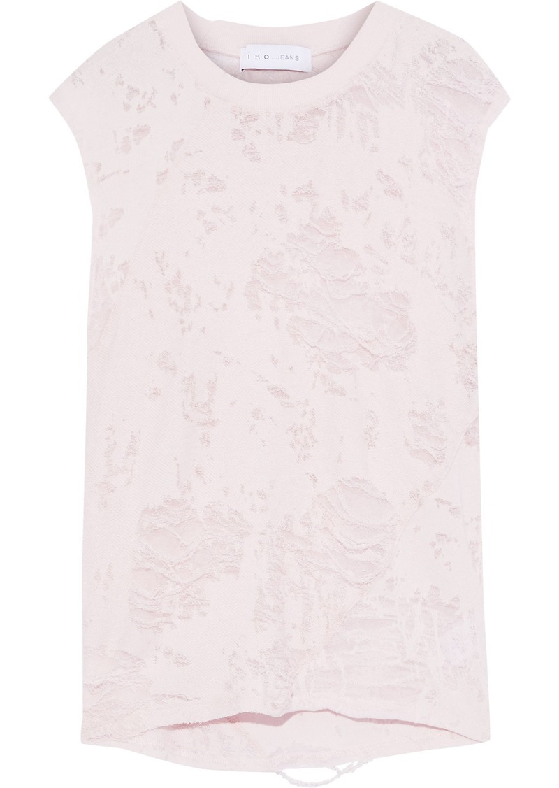 Iro Woman Apie Distressed French Cotton-blend Terry Tank Pastel Pink
