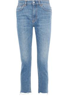 Iro Woman Argan Cropped Distressed High-rise Slim-leg Jeans Light Denim