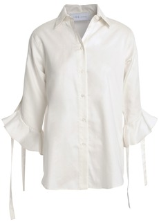 Iro Woman Armley Lace-up Cotton-poplin Shirt Off-white