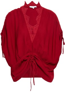 Iro Woman Arnila Broderie Anglaise-trimmed Ruched Voile Top Crimson