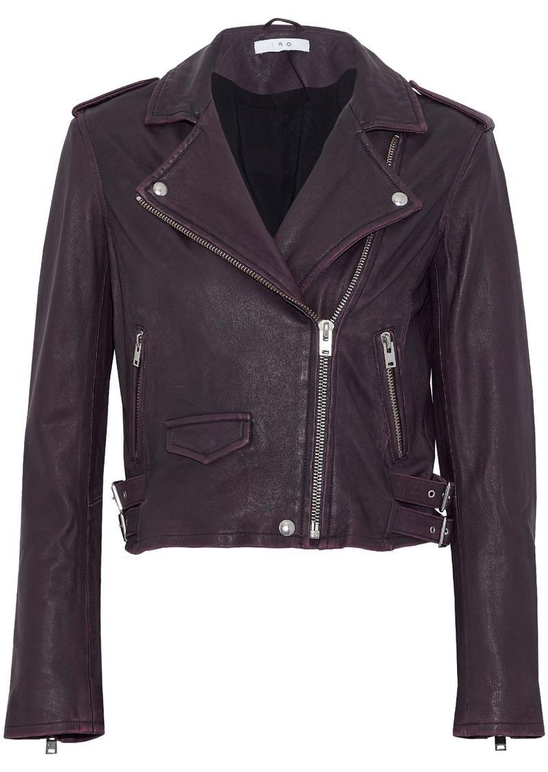 Iro Woman Ashville Cropped Leather Biker Jacket Plum