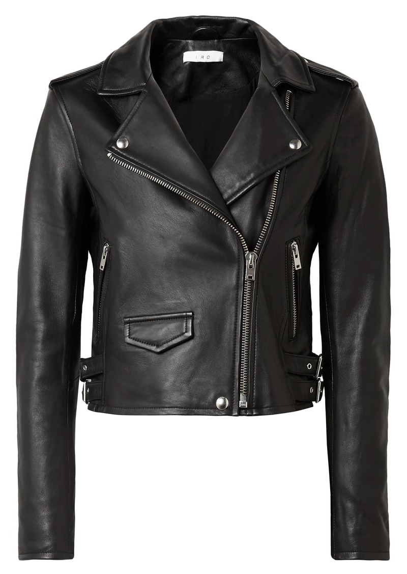 Iro Woman Cropped Leather Biker Jacket Black