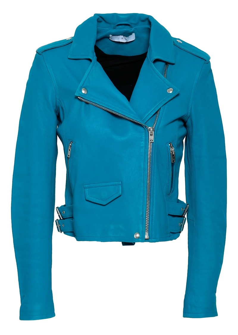 Iro Woman Leather Biker Jacket Azure