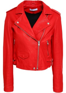 Iro Woman Ashville Cropped Washed-leather Biker Jacket Red