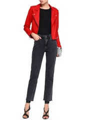 Iro Woman Ashville Cropped Leather Biker Jacket Tomato Red