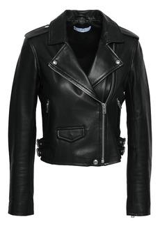 Iro Woman Ashville Cropped Washed-leather Biker Jacket Black