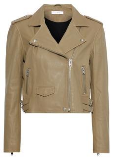 Iro Woman Ashville Cropped Washed-leather Biker Jacket Sage Green