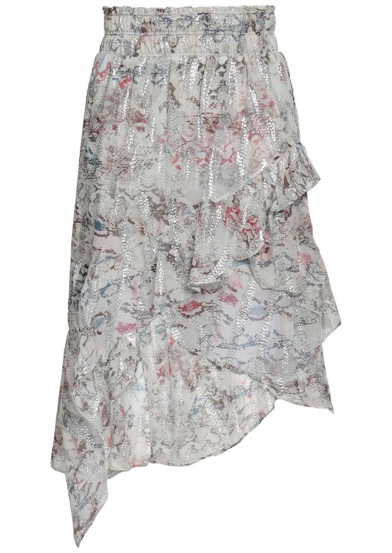 Iro Woman Asymmetric Ruffled Snake-print Fil Coupé Silk-blend Skirt Light Gray