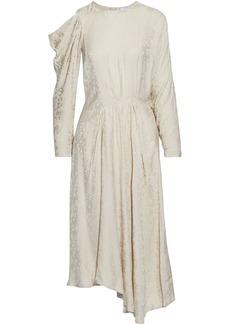 Iro Woman Atry Asymmetric Cold-shoulder Satin-jacquard Midi Dress Ecru