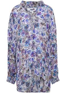 Iro Woman Avon Ruffled Printed Gauze Blouse Blue