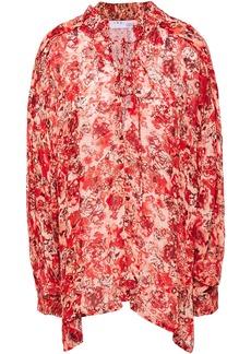 Iro Woman Avon Lace-up Printed Gauze Blouse Red