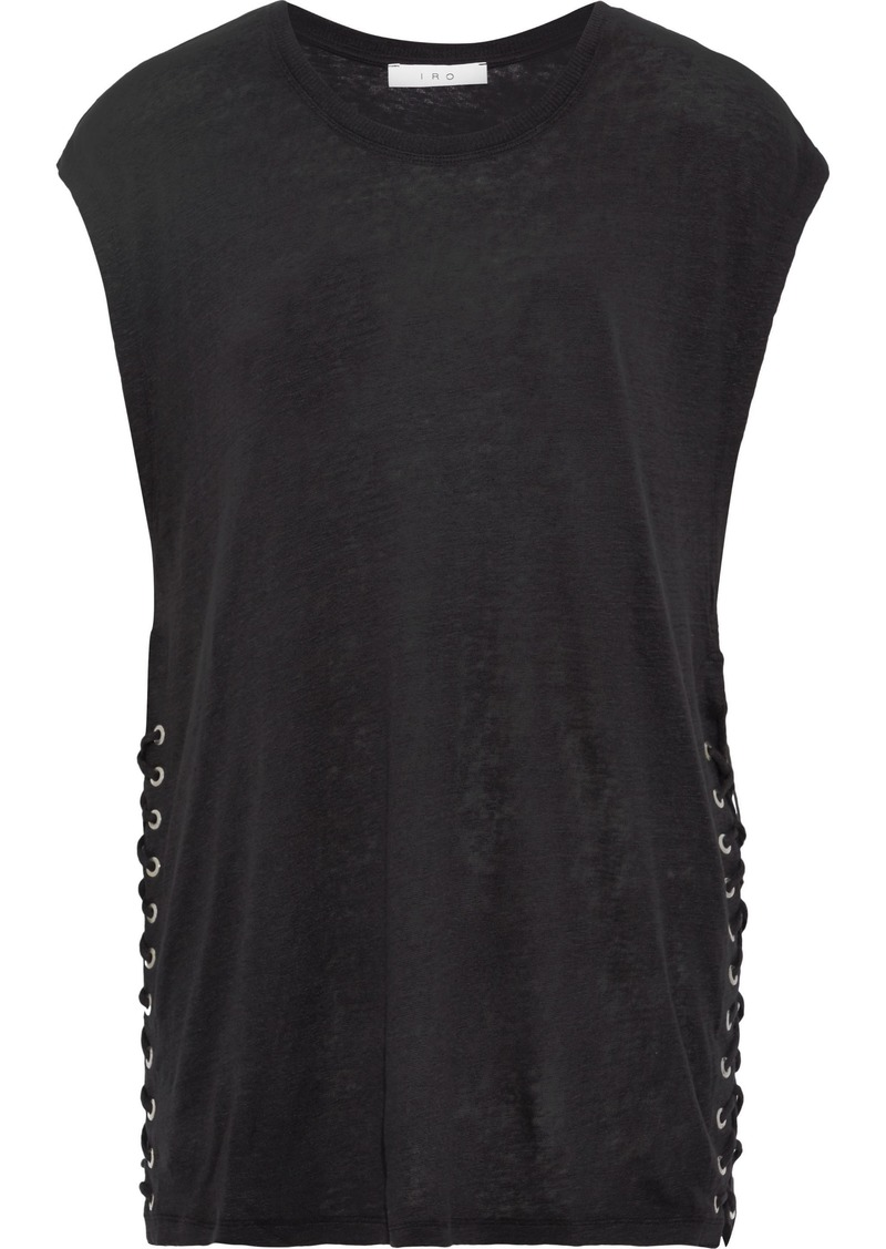 Iro Woman Avys Lace-up Slub Linen-jersey Top Black
