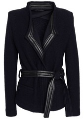 Iro Woman Awa Belted Leather-trimmed Bouclé-knit Wool-blend Jacket Black
