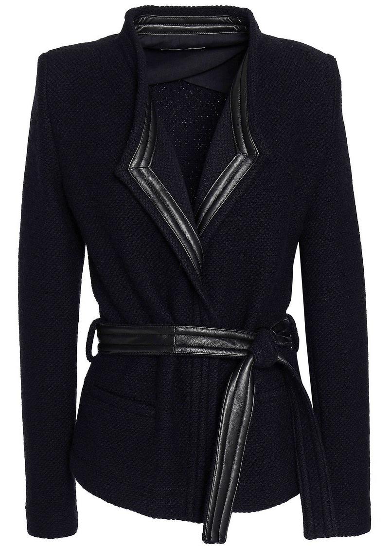 Iro Woman Awa Belted Leather-trimmed Bouclé-knit Wool-blend Jacket Black