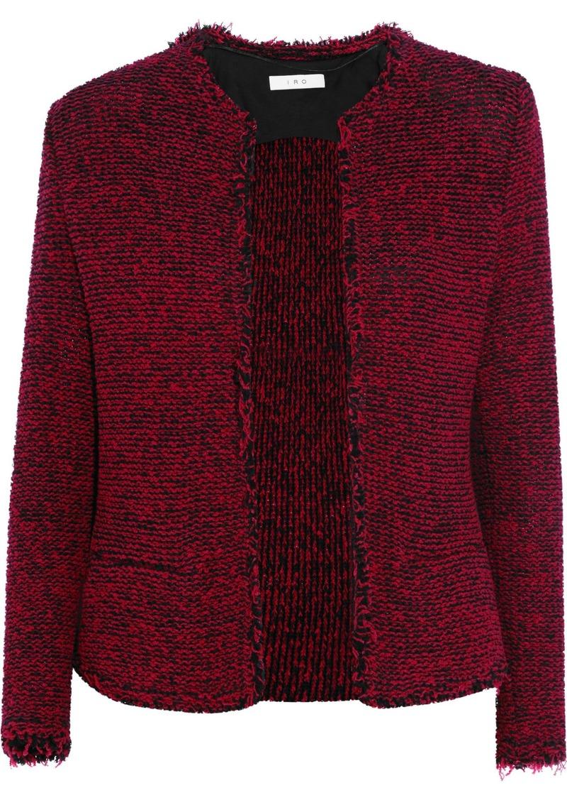 Iro Woman Azure Frayed Cotton-blend Bouclé Jacket Burgundy