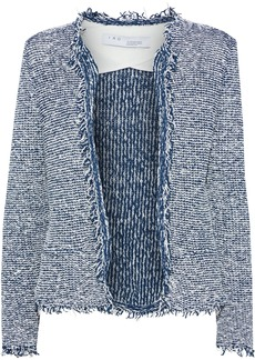 Iro Woman Azure Frayed Cotton-blend Bouclé Jacket Storm Blue