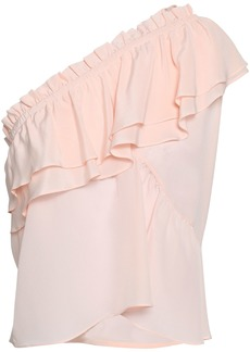 Iro Woman Ballie One-shoulder Ruffled Washed-silk Top Pastel Pink