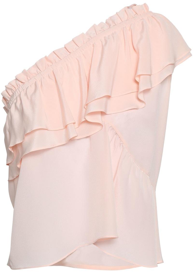 Iro Woman Ballie One-shoulder Ruffled Washed-silk Top Pastel Pink