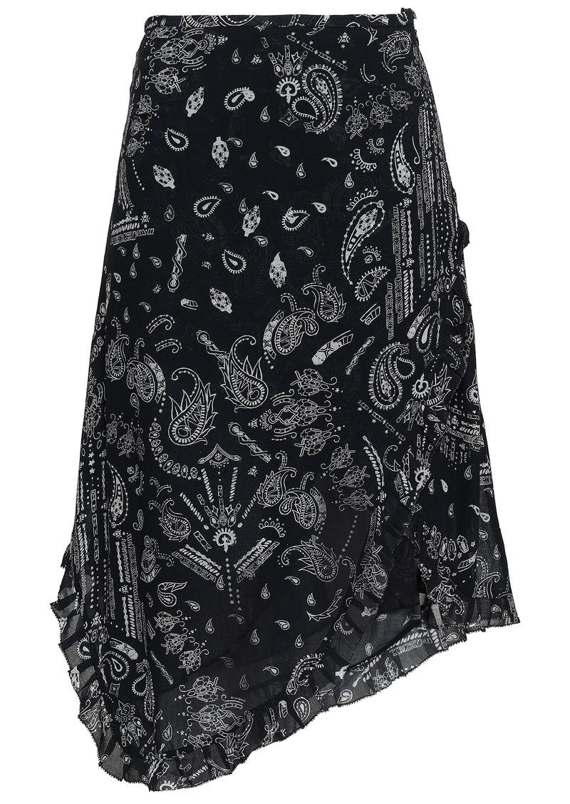 Iro Woman Banem Asymmetric Printed Crepe De Chine Skirt Black