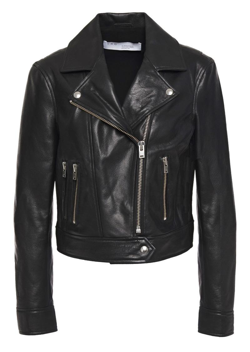 Iro Woman Bapey Cropped Pebbled-leather Biker Jacket Black