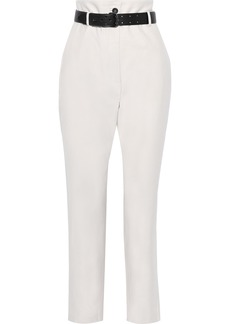 Iro Woman Belted Cotton Tapered Pants Off-white