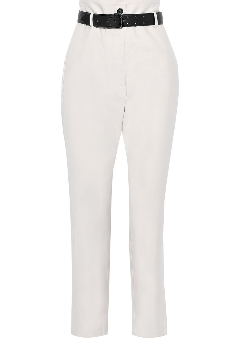 Iro Woman Cropped Belted Cotton Tapered Pants Off-white