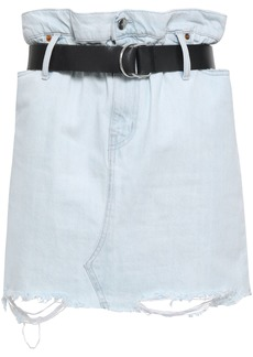 Iro Woman Belted Distressed Denim Mini Skirt Light Denim