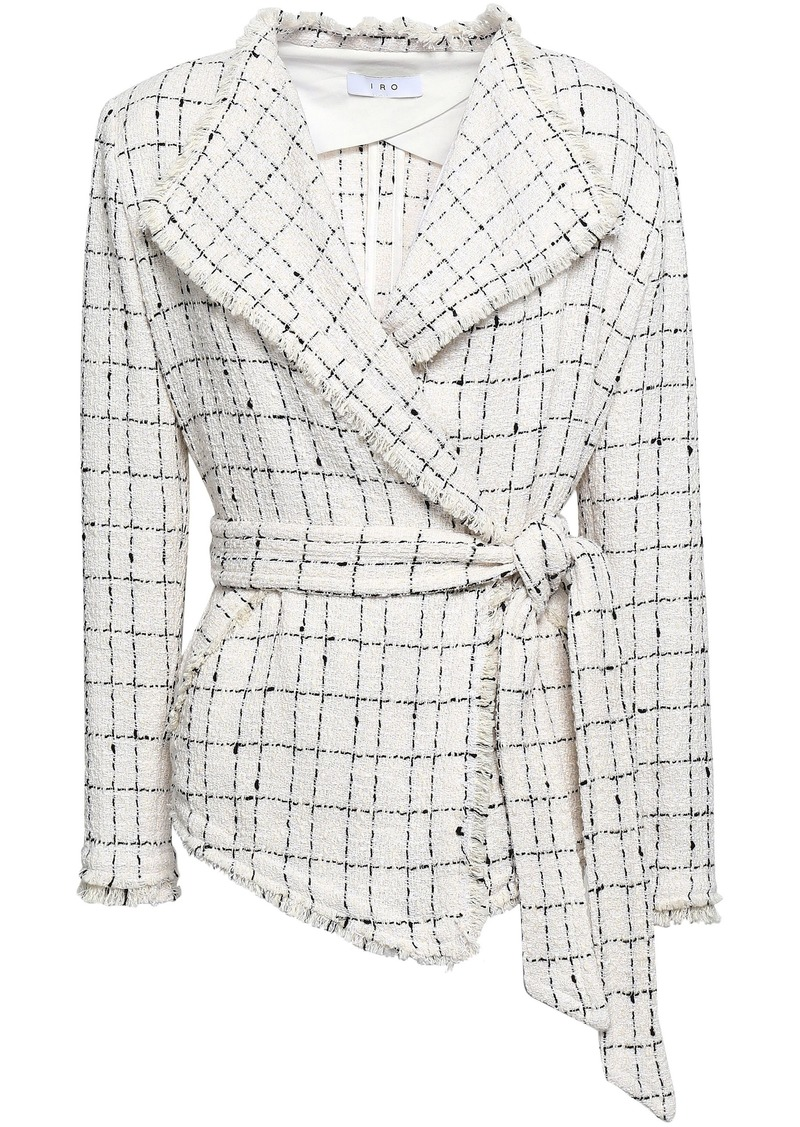 Iro Woman Belted Frayed Checked Cotton-blend Tweed Jacket Black