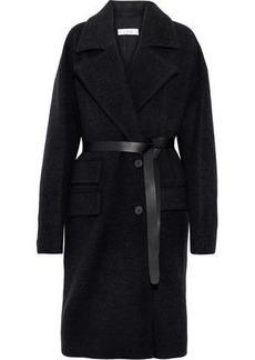 Iro Woman Belted Leather-trimmed Wool-blend Felt Coat Charcoal