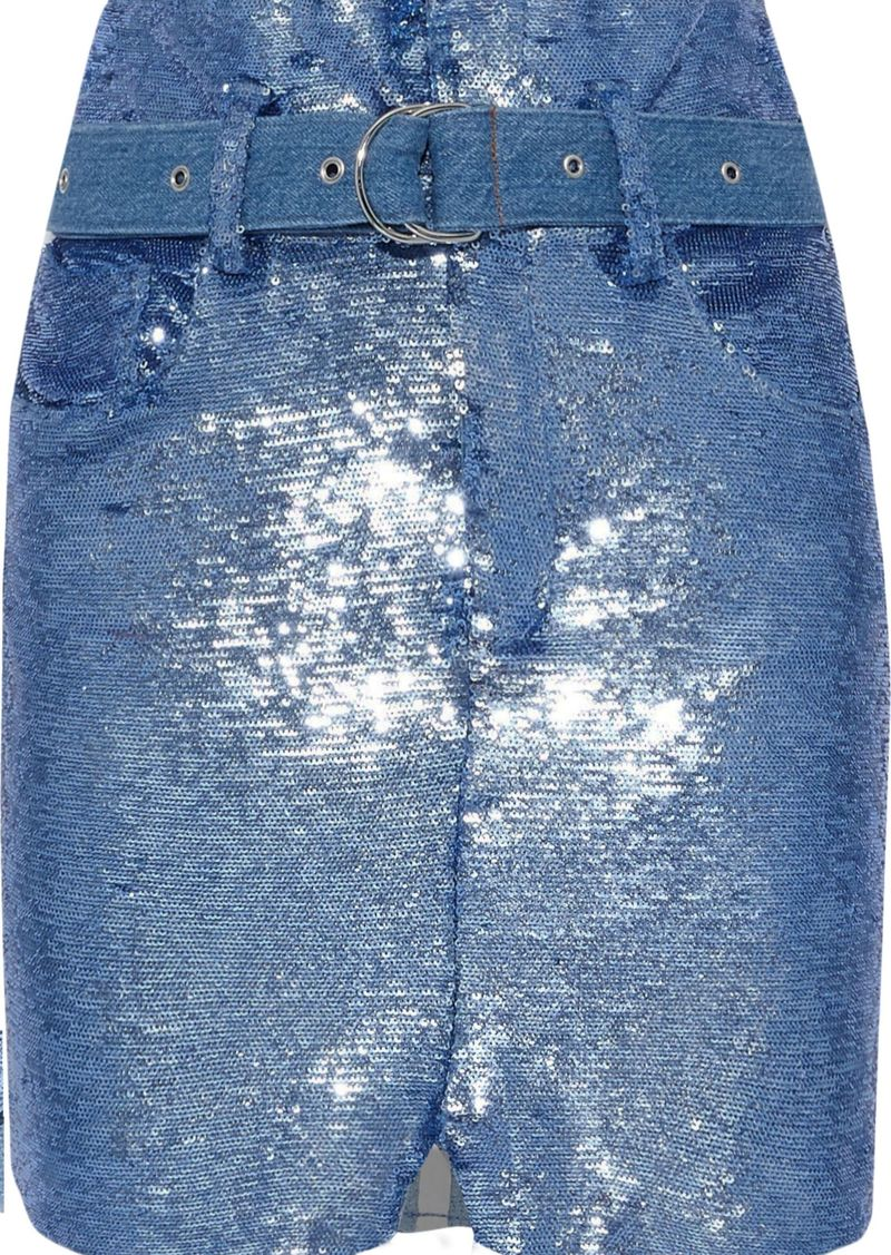 Iro Woman Belted Sequined Stretch-knit Mini Skirt Blue