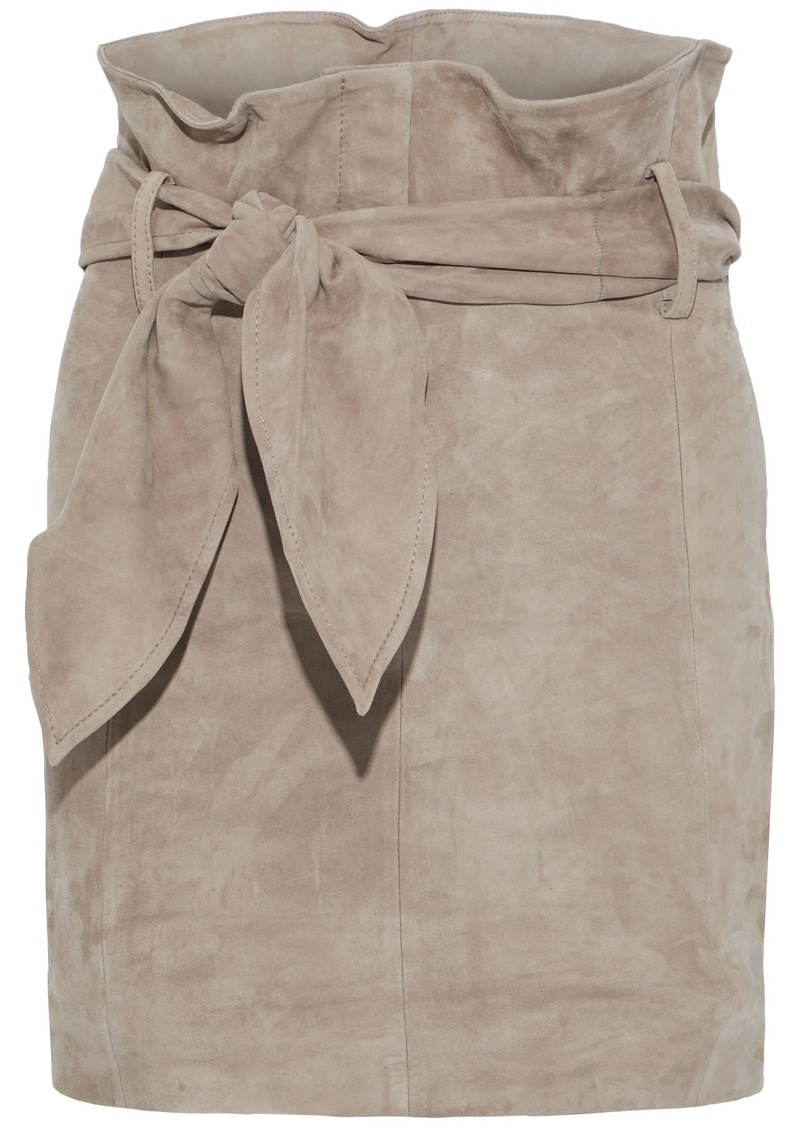 Iro Woman Belted Suede Mini Skirt Stone
