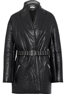 Iro Woman Belted Textured-leather Jacket Black