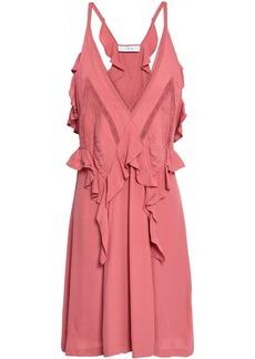 Iro Woman Bercey Lace-trimmed Ruffled Crepe Mini Dress Bubblegum