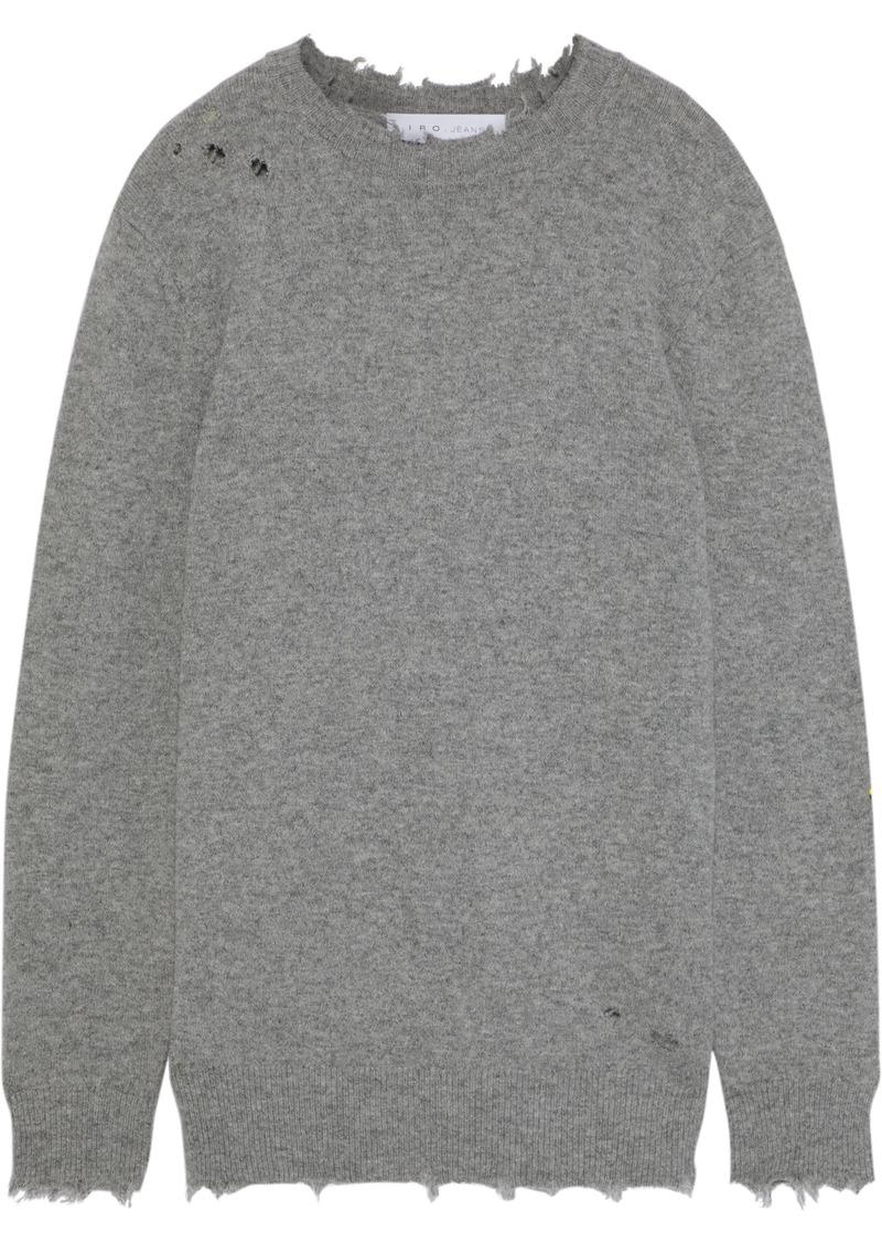 Iro Woman Berito Distressed Mélange Knitted Sweater Gray