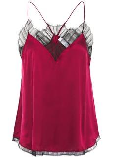 Iro Woman Berwyn Lace-trimmed Silk-charmeuse Camisole Crimson