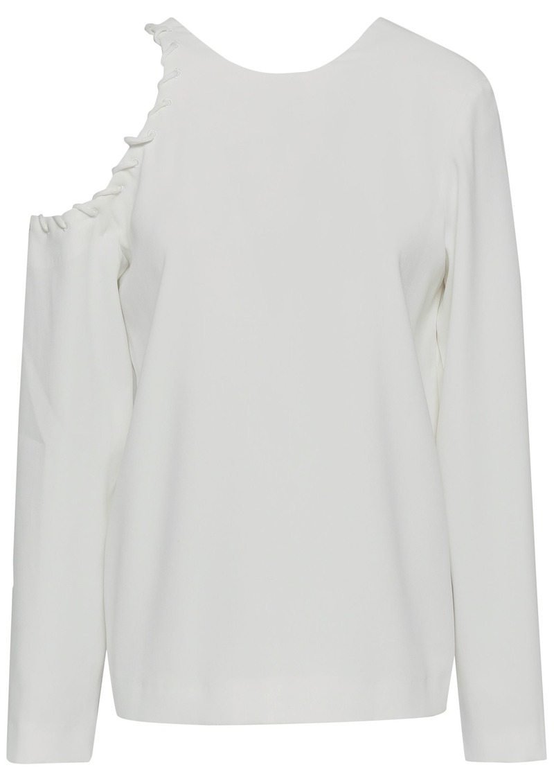 Iro Woman Bherock Cutout Whipstitched Crepe Top White