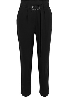 Iro Woman Bill Belted Pleated Cady Tapered Pants Black