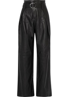 Iro Woman Bird Belted Leather Wide-leg Pants Black