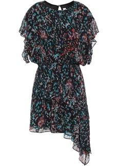 Iro Woman Blame Asymmetric Printed Chiffon Mini Dress Black