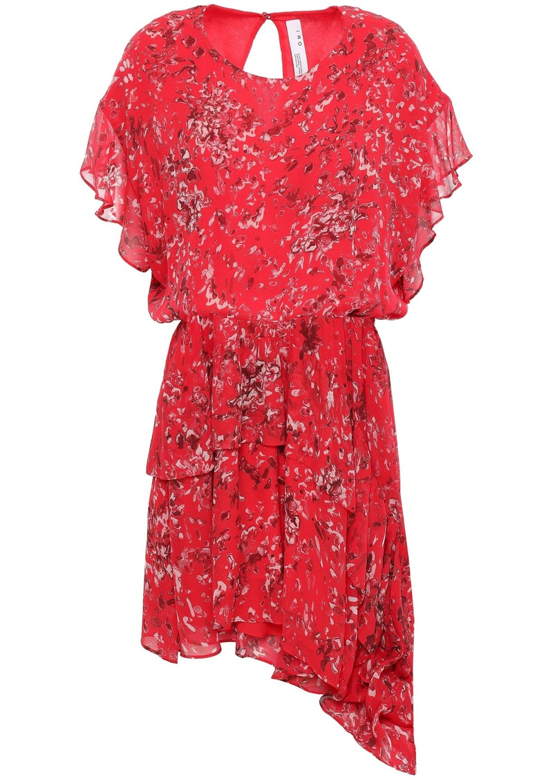 Iro Woman Blame Asymmetric Printed Chiffon Mini Dress Tomato Red