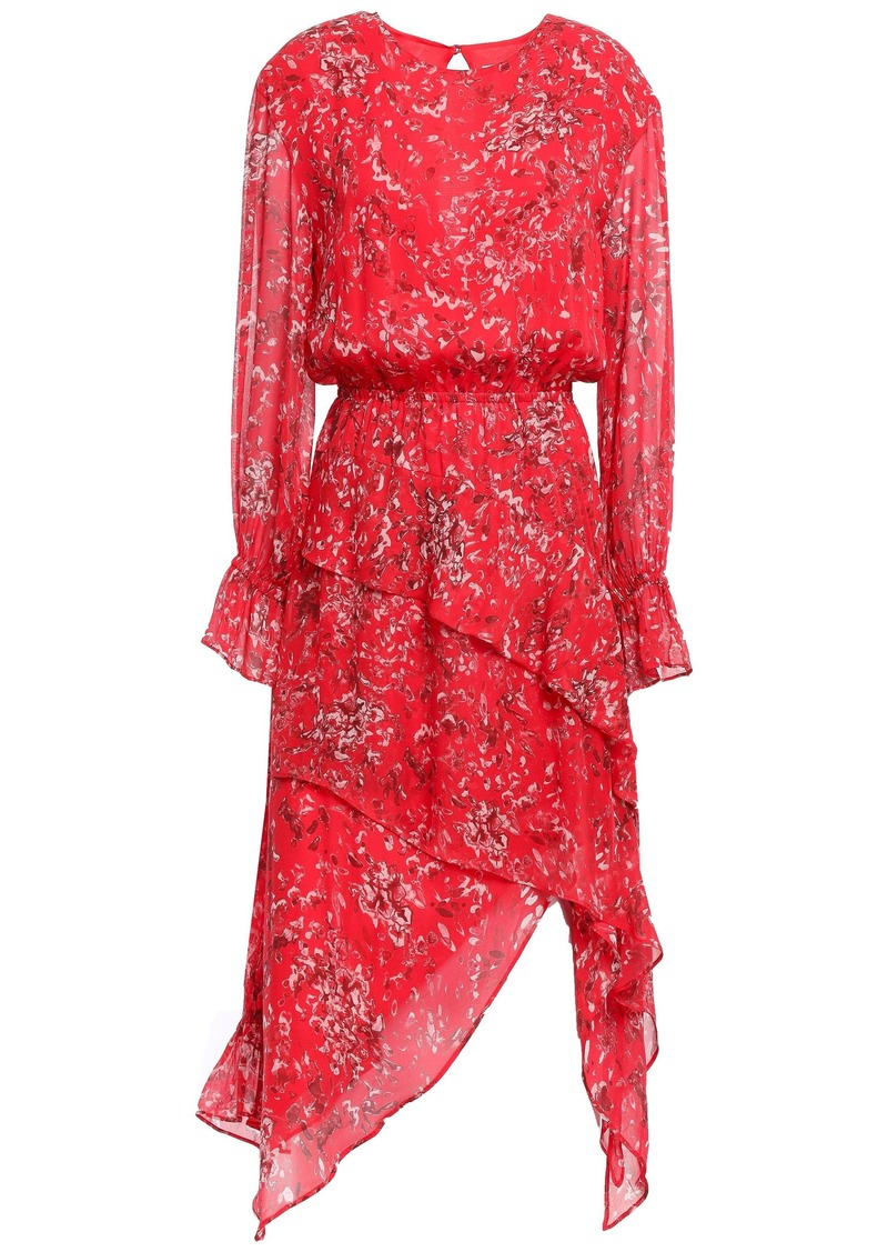 Iro Woman Blank Asymmetric Layered Printed Gauze Dress Tomato Red