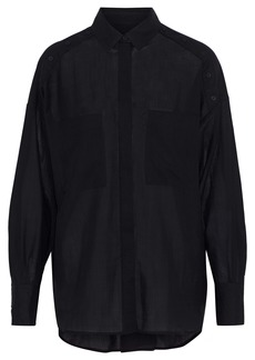 Iro Woman Bocka Button-detailed Wool-gauze Shirt Black